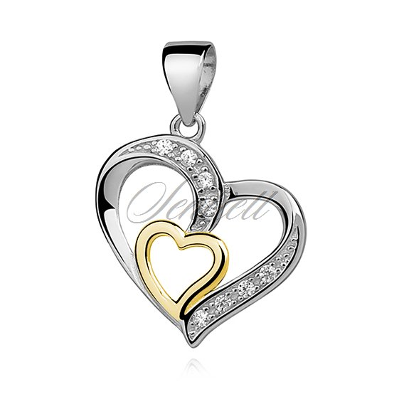 Silver (925) pendant - gold-plated heart in heart with zirconia