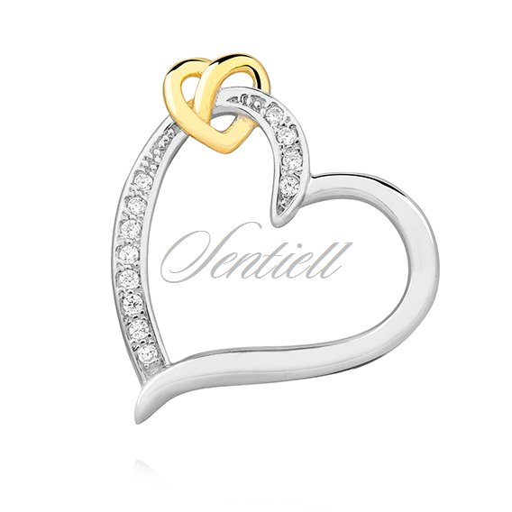 Silver (925) pendant - gold-plated heart with zirconia