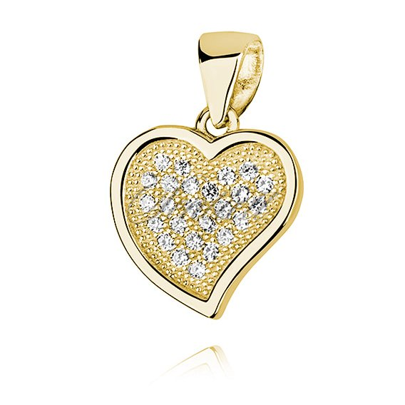 Silver (925) pendant - hollow heart with zirconia