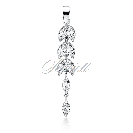 Silver (925) pendant long leafs with zirconia