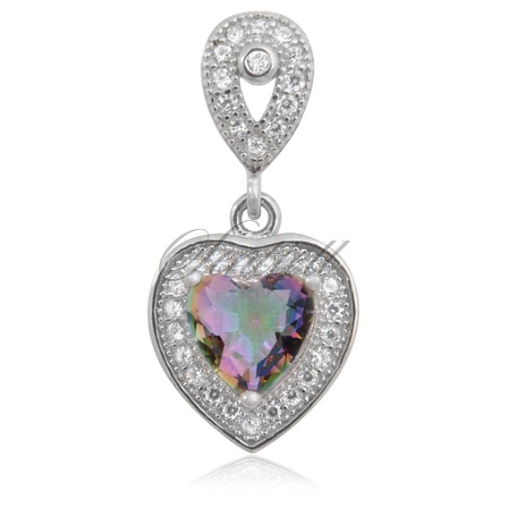 Silver (925) pendant mutlicolored heart zirconia studded with crystals