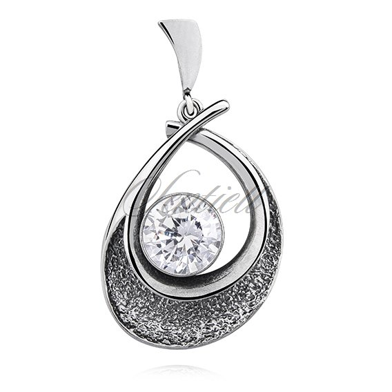 Silver (925) pendant oxidized with zirconia