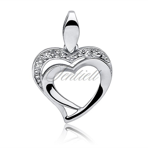 Silver (925) pendant white zirconia - double heart