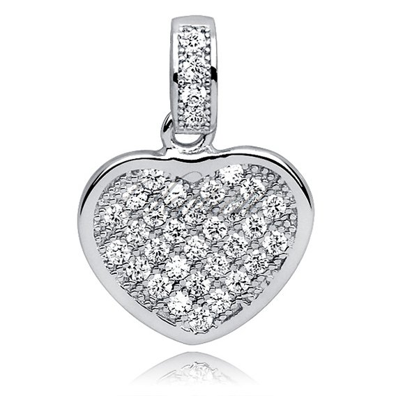 Silver (925) pendant white zirconia - heart filled with zircons