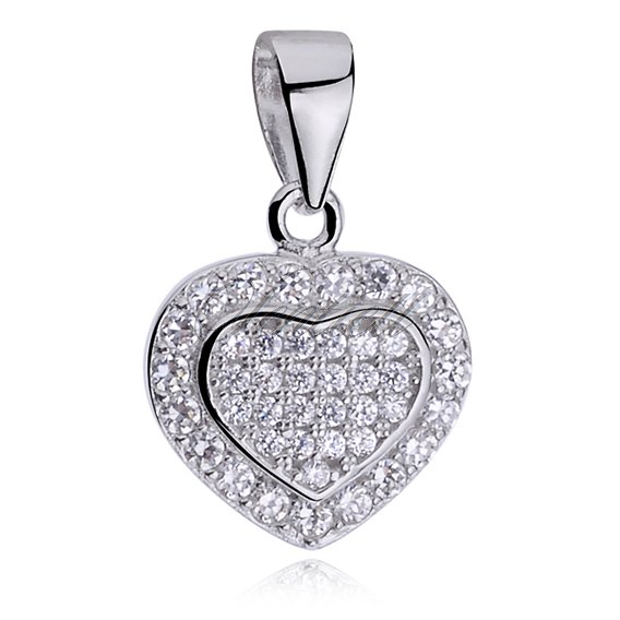 Silver (925) pendant white zirconia - heart full of zircons