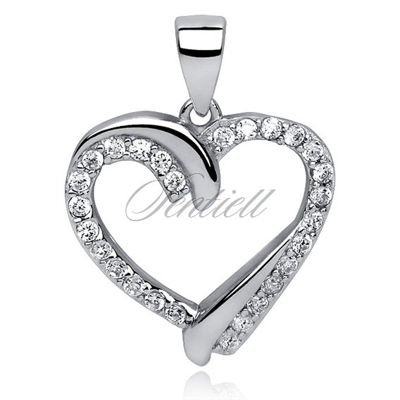 Silver (925) pendant white zirconia - heart interwoven with silver rhinestones