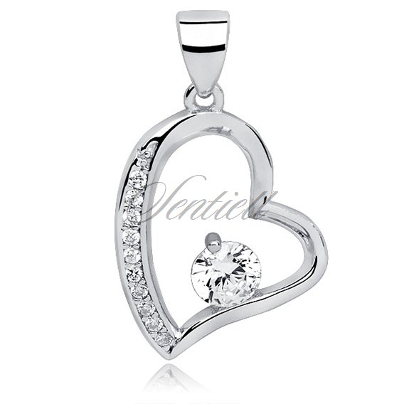 Silver (925) pendant white zirconia - heart mikrosetting and zircon