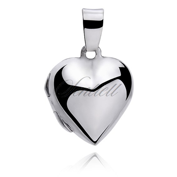 Silver (925) polished pendant - heart shaped locket