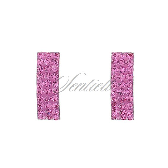 Silver (925) rectangular earrings light pink