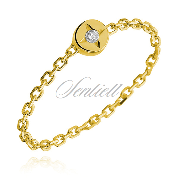 Silver (925) ring - chain with zirconia - gold-plated