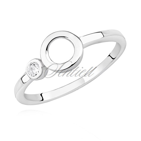Silver (925) ring - circle and white zirconia