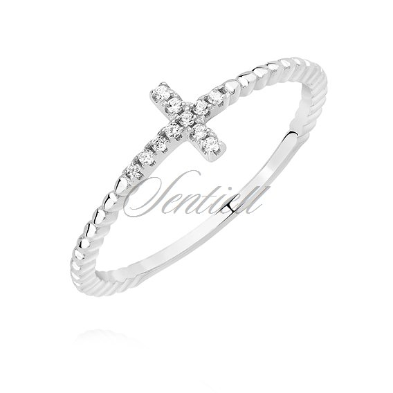 Silver (925) ring - cross with white zirconia