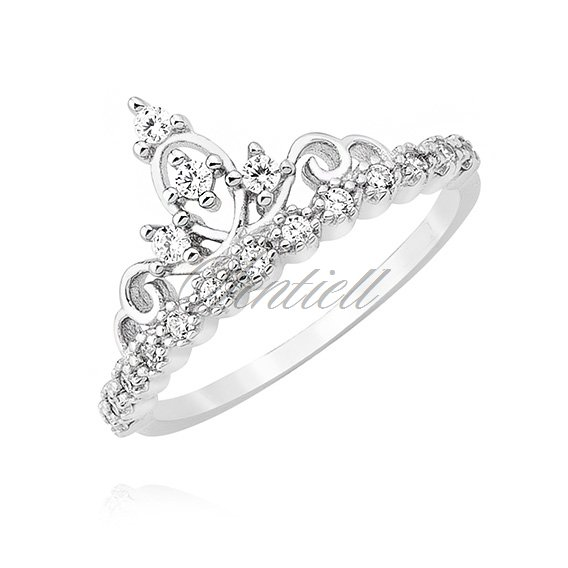 Silver (925) ring - crown with zirconia