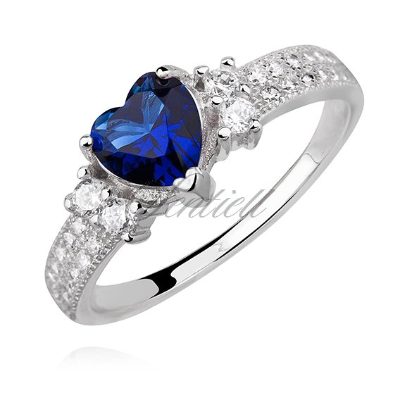 Silver (925) ring heart - sapphire zirconia