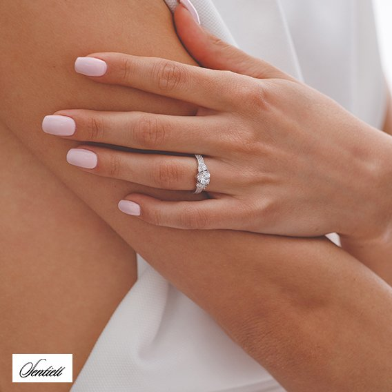 Silver (925) ring heart - white zirconia