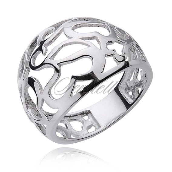 Silver (925) ring openwork hearts