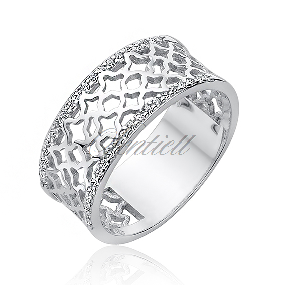 Silver (925) ring - openwork pattern with two rows of zirconia
