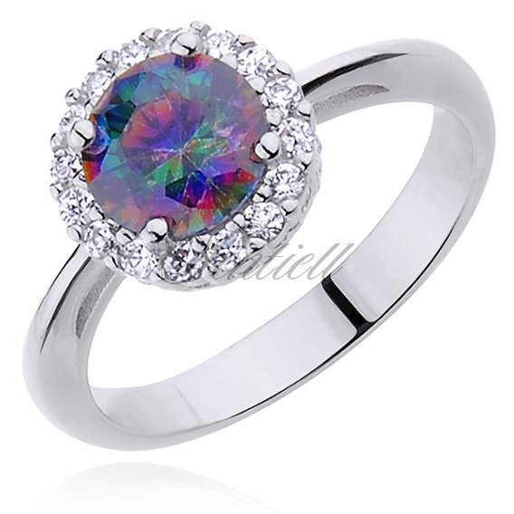 Silver (925) ring round multicolored zirconia