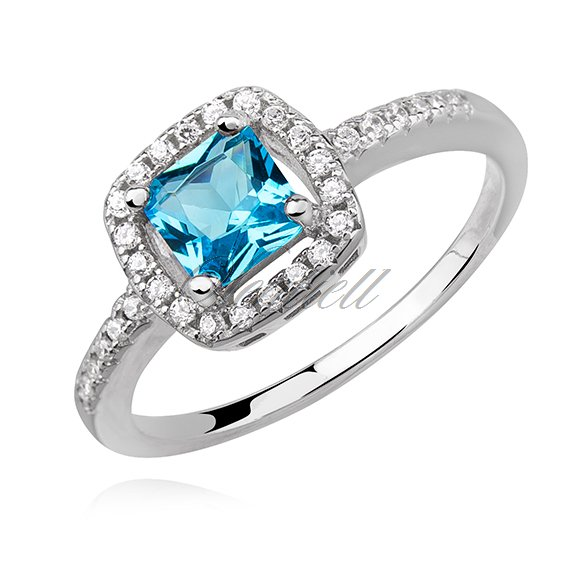Silver (925) ring with aquamarine zirconia