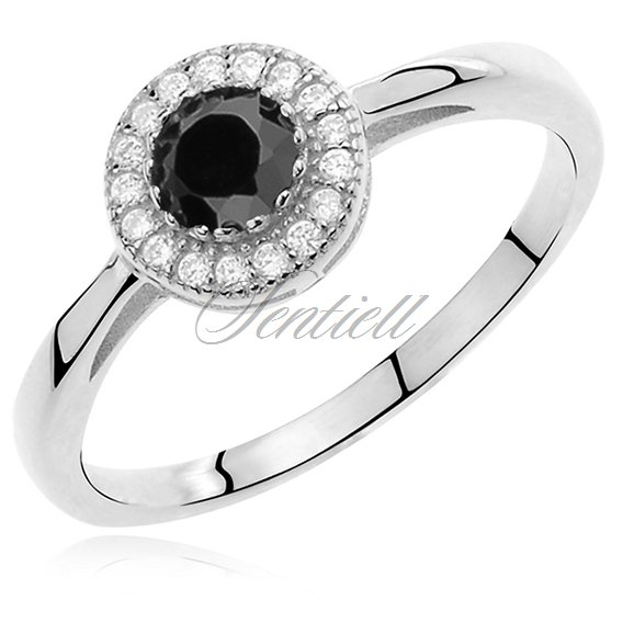 Silver (925) ring with black round zirconia microsetting
