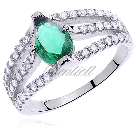 Silver (925) ring with emerald colored & white zirconia