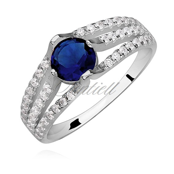 Silver (925) ring with round, sapphire zirconia