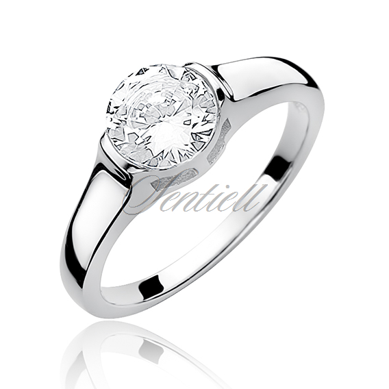 Silver (925) ring with round white zirconia