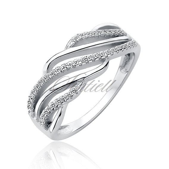 Silver (925) ring with white zirconia - waves