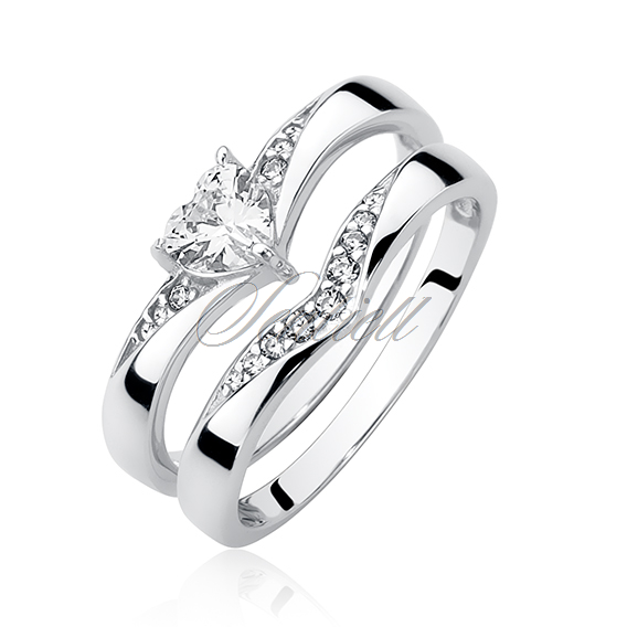 Silver (925) ring with zirconia - heart