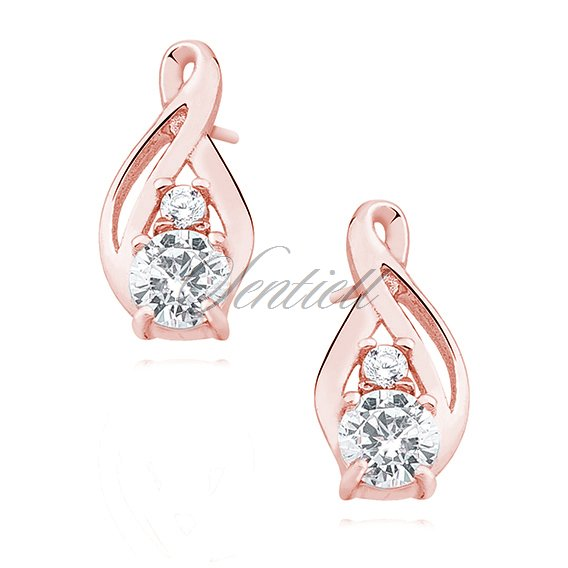 Silver (925) rose gold - earrings with white zirconia