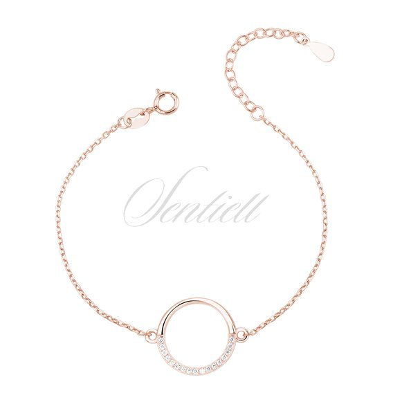 Silver (925) rose gold - plated bracelet - cirlce with zirconia