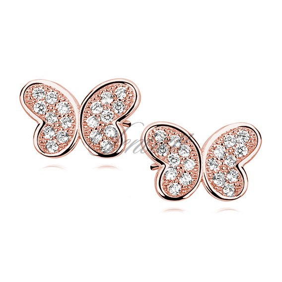 Silver (925) rose gold-plated butterfly earrings with zirconia