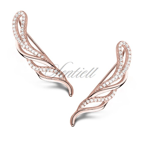 Silver (925) rose gold-plated cuff earrings with zirconia