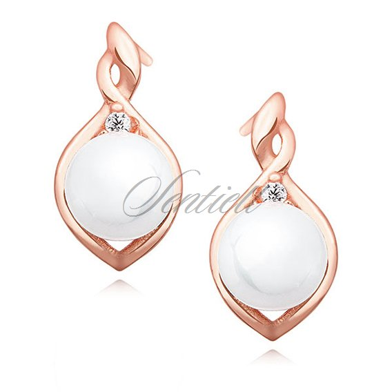 Silver (925) rose gold-plated earrings white pearl and zirconia