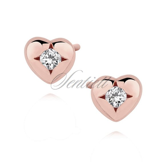 Silver (925) rose gold-plated heart shape earrings with zirconia