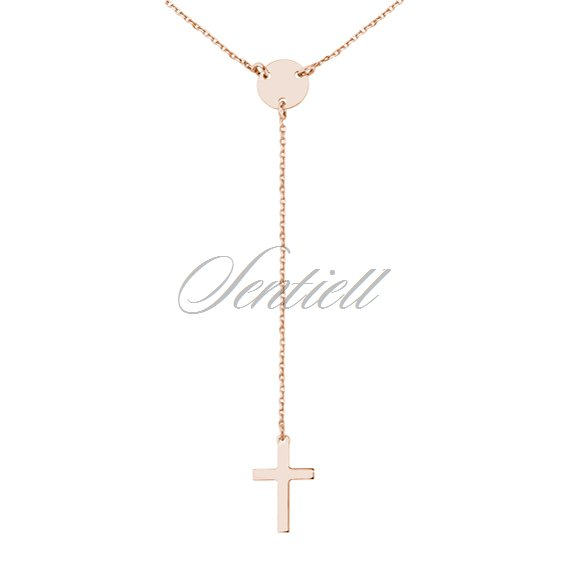 Silver (925) rose gold-plated necklace with cross