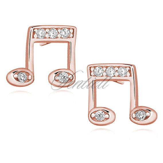 Silver (925) rose gold-plated note earrings with zirconia