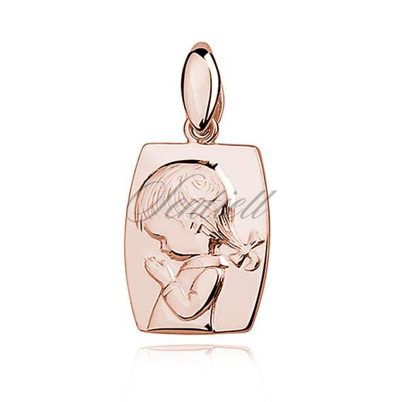 Silver (925) rose gold-plated pendant - praying child