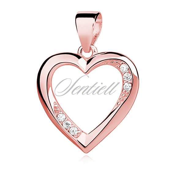 Silver (925) rose gold-plated pendant white zirconia - hollow heart