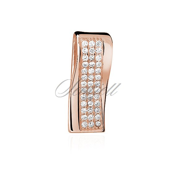 Silver (925) rose gold-plated pendant with zirconia