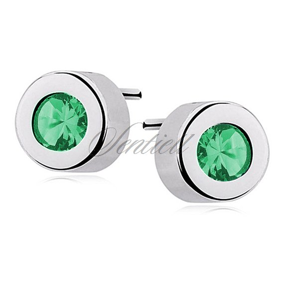 Silver (925) round earrings emerald zirconia