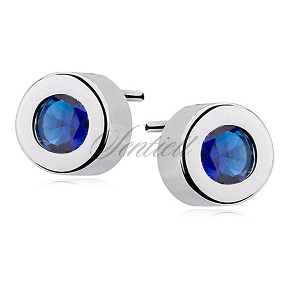 Silver (925) round earrings sapphire zirconia