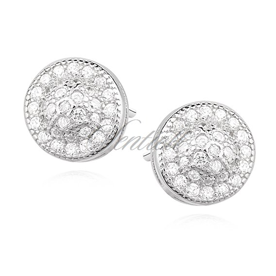 Silver (925) round earrings with zirconia