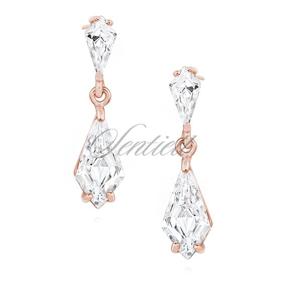 Silver (925) stylish, bridal earrings with zirconia, rose gold-plated