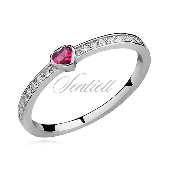 Silver (925) subtle ring with ruby zirconia