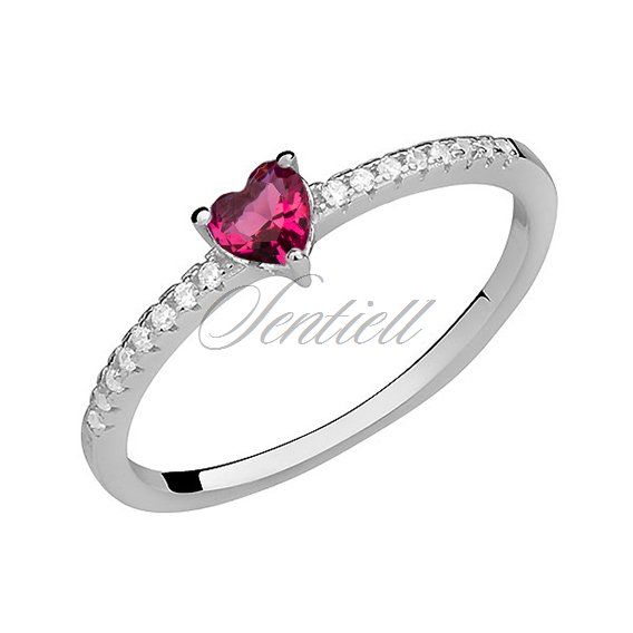 Silver (925) subtle ring with ruby zirconia heart