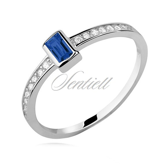 Silver (925) subtle ring with sapphire zirconia - rectangle