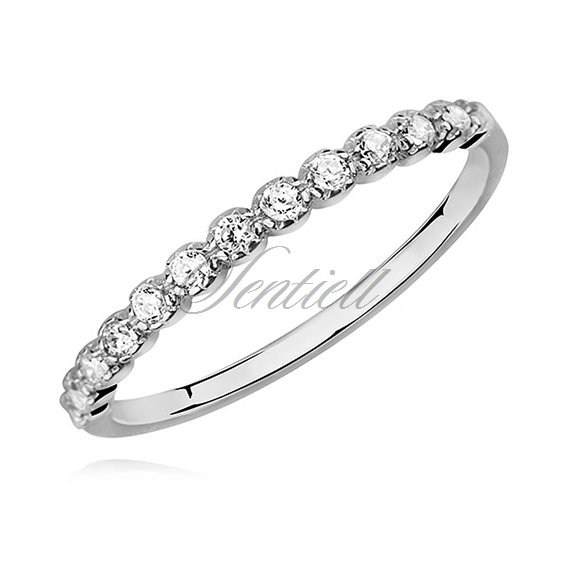 Silver (925) subtle ring with white zirconia