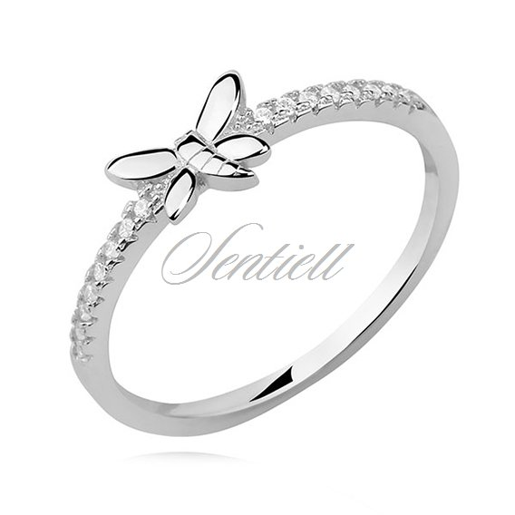 Silver (925) subtle ring with white zirconia - butterfly