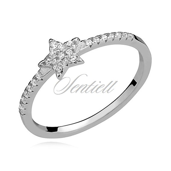 Silver (925) subtle ring with white zirconia - star